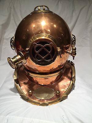 Full-Size U.S. Navy Mark V Copper and Brass Diving Helmet Replica LPU
