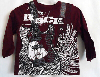 Boys 6-9 Months Wine Gray Guitar White Skull Rock Shirt Nwt The Children's Place