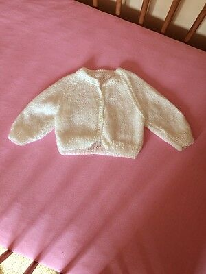 Unisex White Hand Knitted Cardigan 0-6 Months