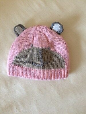 Baby Girls Pink Warm Hat With Ears 0-3 Months