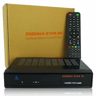 Zgemma Star 2S Satellite Receiver 2xDVB-S2 IPTV LAN Linux Enigma 2 Genuine Box !