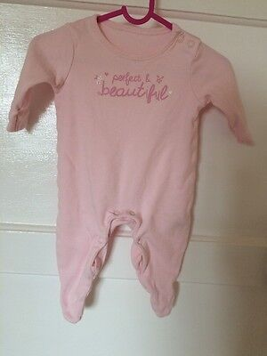 George Baby Girl Sleep Suit 'Perfect & Beautiful' 0-3 Months