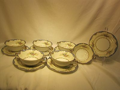 Meito China Cream Soup Bowls and Saucers (Set of 6)