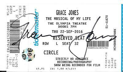 Grace Jones Signed The Musical Of My Life Show Ticket Olympia Theatre Dublin