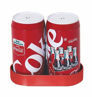 Coca-Cola Classic Red and White Salt and Pepper Shakers with Caddy