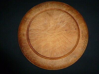 Large Vintage Carved Wood Bread Board