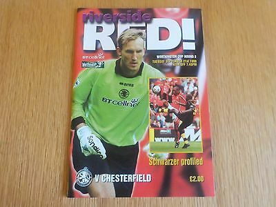 Football Programme Middlesbrough v Chesterfield League Cup Round 2 21.09.99