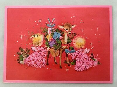 Vintage Christmas Card Pink Lace Angel Girls Deer Present Bunny Rabbit Star Fawn