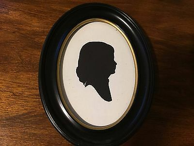 Silhouettes of Unknown Young Woman - Circa 1930 - Oval Black Frame