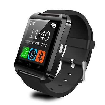 Black Bluetooth Smart Wrist Watch for Android IOS iPhone Samsung LG HTC UK#A