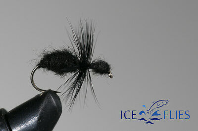 ICE FLIES. Black ant.  (4-pack). Available in size 8 - 14