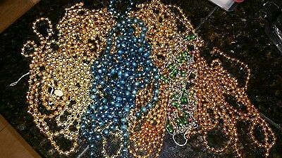 "725"" of VINTAGE FEATHER TREE MERCURY GLASS BEADED GARLAND LOT of 8  1/8"" - 3/8"""