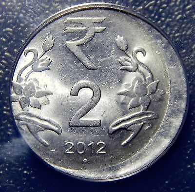 Off Center Strike! India 2 Rupees 2012-O (Noida) ANACS AU 58 Nice Coin!
