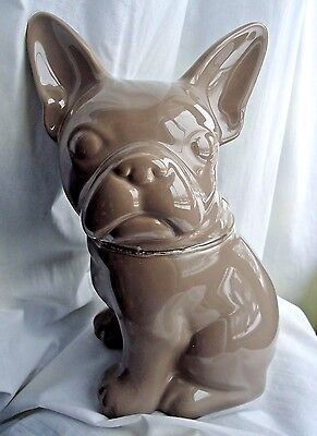 French Bulldog Stoneware Cookie Jar in Taupe  NEW