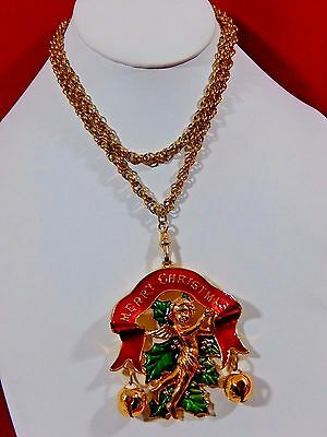 """Edgar Berebi Limited Edition 1997 """"the Christmas Angel""""  Long Statement Necklace"""