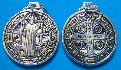 St. Saint Benedict silver round rosary beads medal pendant 2.5cm