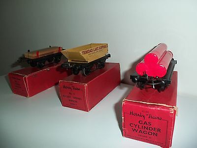 Hornby O Gauge 3 Boxed Wagons - Timber/Rotary Tipping/Gas Cylinder