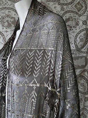 Antique Textile-Circa1900-1920,ornate And Shimmering Assuit Shawl,tulle Bi Telle