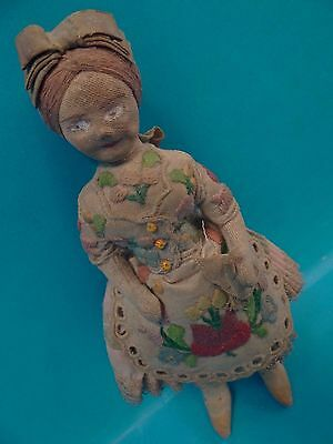 Antique Old Cloth Rag Embroidered Small Miniature Depression Era Doll