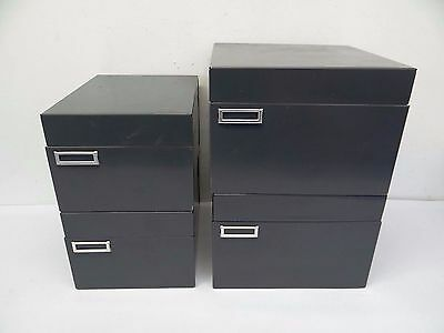 Mixed Lot Pressed Steel Metal File Cabinets Organizers Storage Boxes Drawers