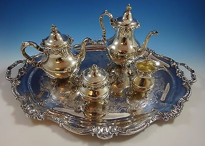Strasbourg by Gorham Sterling Silver Tea Set 4pc and Silverplate Tray (#1397)