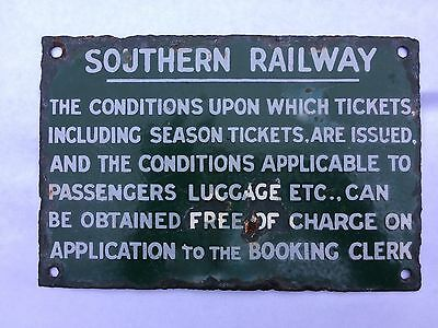 Southern Railway Green & White Enamel Sign Conditions Of Issue Of Tickets