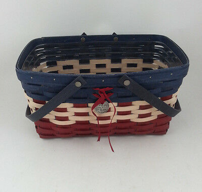 Longaberger Americana Medium Market Basket w Protector and Tie on