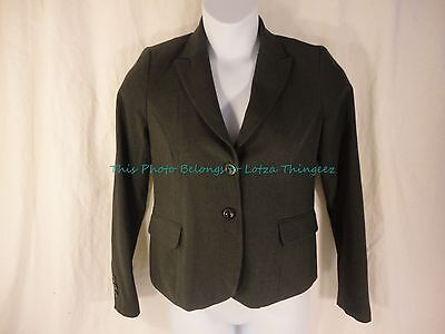 EUC Mimi Maternity M Dark Charcoal Gray Suit Jacket 2 Button Pocket Front sk