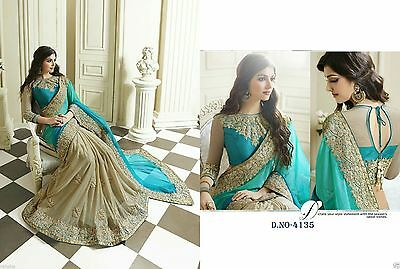 Indian Women Designer Bollywood Saree Wedding Party Wear Lycra & Net Sari 4135