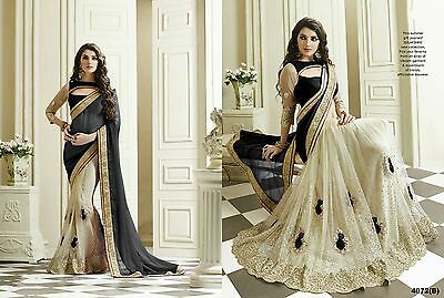 Indian Women Designer Wedding Sari Net Party Wear Bollywood Saree 4072Us