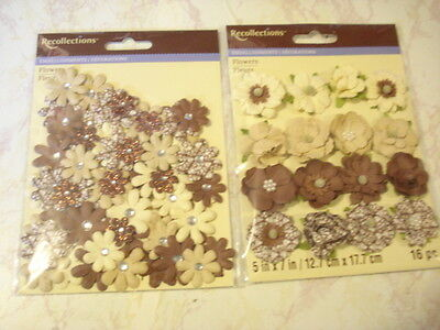 Lot Of Paper Flowers Autumn Fall Thanksgiving Recollections Glitter Gems