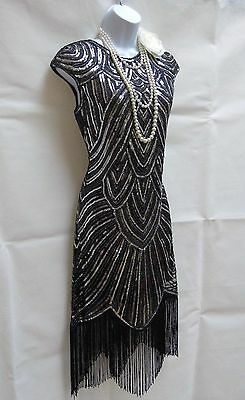 1920's Gatsby Vintage Charleston Sequin Tassel Flapper Dress Size 10 12 14 16 18