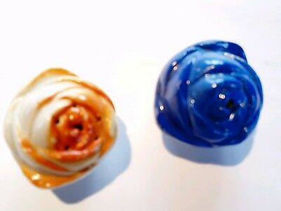 salt and pepper pots blue and orange roses Japan majolica retro china
