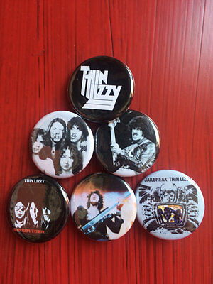 "1.25"" Thin Lizzy pin back button set of 6"