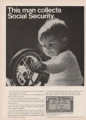 1970 This Man Collects Social Security Card Lee Thomas Photo Ad