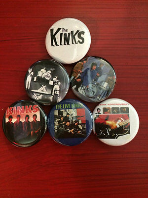 """1.25"""" The Kinks pin back button set of 6"""