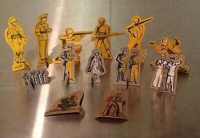 Vintage Toy Cardboard United States Army Navy Soldiers, Mixed Lot Of 13