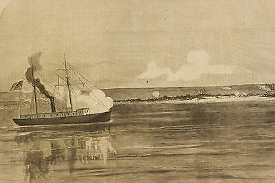 1861 US Civil War NY Illustrated News Hatteras NC USS Monticello Naval Battle