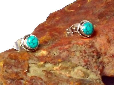 TURQUOISE   Sterling  Silver    925   EAR  STUDS   -  5 mm  -   Gift Boxed!