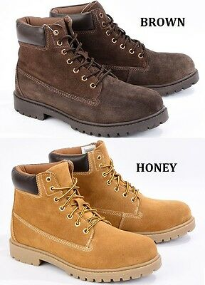 Men's Livergy Lace Up Brown/Honey Suede Leather Ankle New Boots Sizes 8 9 10 11