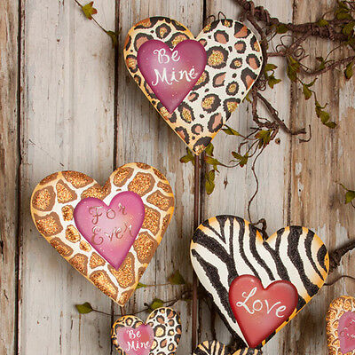 Animal Love Hearts - Set of 3/Hang or Stake/Wreath Supplies/Valentines Day Decor