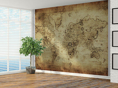 Vintage distressed World Map photo Wallpaper wall mural (4302066) Map