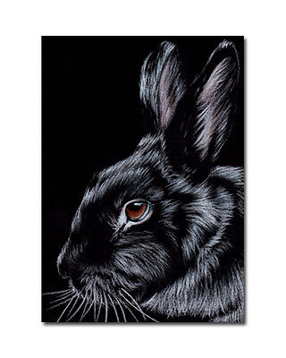 BUNNY 140 dutch rabbit Easter hare painting Sandrine Curtiss ORIGINAL Art ACEO