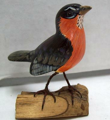 "Handcarved Wood Thrush / Robin on Branch 3"" HandPainted Small Bird SHELF DISPLAY"