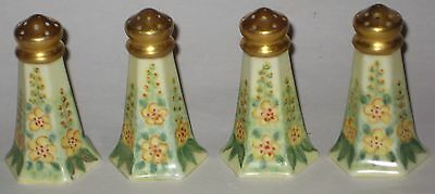 LOVELY Hand PAINTED w/FLORALS & Gold TOPS Antique PORCELAIN Shakers