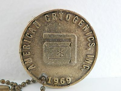 RARE Vtg 1969 American Cryogenics Inc Freezing People Medallion Coin Keychain
