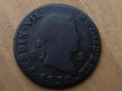 Small copper coin from SPAIN 1830 , Worth a look ...........................CF37