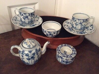 Antique Blue Onion ** STROHBLUME / STRAWFLOWER  Cups and Saucers