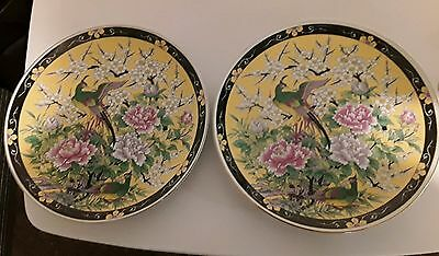 Fine Pair Vintage Chinese Porcelain Famile Charger Wall Plates LARGE