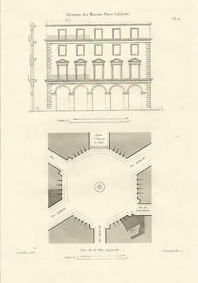 1837 Häuser PLACE LAFAYETTE 5 & 9 Paris 4 Original Prints Architektur Leclere